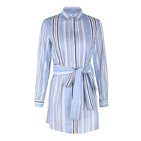 Vestido de Mujer, cinturón de Rayas Solapa de Manga Larga/Cuello ...