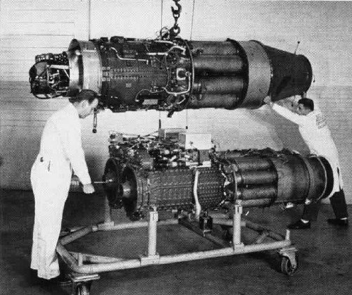An Allison J35 jet engine (above) and an Allison XT-40 turboprop engine.