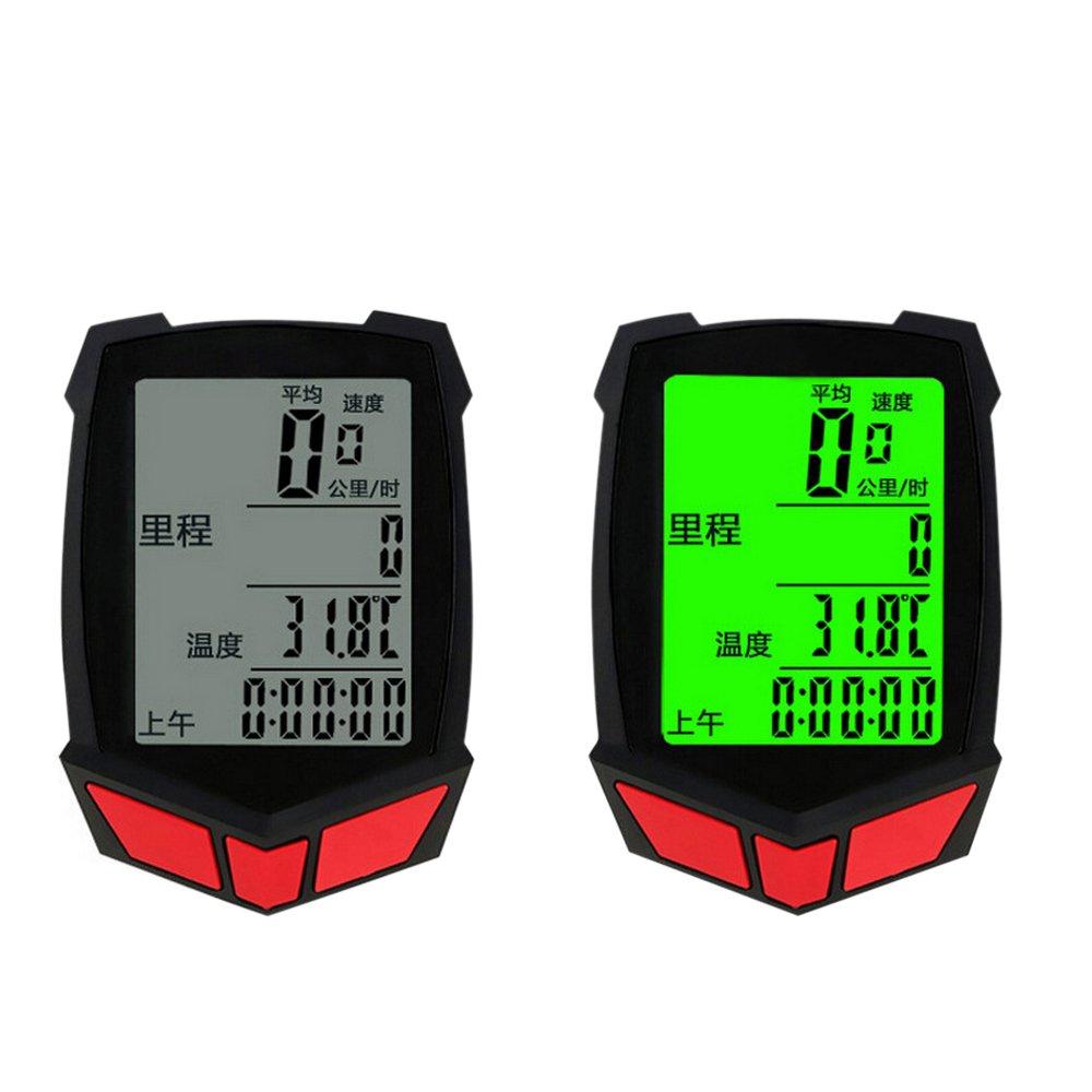 ezyoutdoor Luminous Wireless Bike Backlight Cycling Speedometer Odometer Stopwatch Bicycle Computer Stopwatch Battery LCD Screen