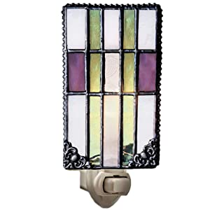 J Devlin NTL 170 Mission Style Decorative Night Light Vintage Purple Sage Green Stained Glass