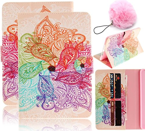 Price comparison product image Galaxy Tab E 9.6 Case Flip,Vandot PU Leather Auto Wake/Sleep Magnetic Stand Wallet Case Folio Cover Colorful Painting Pattern for Samsung Galaxy Tab E 9.6 Inch SM-T560 T561+Pompon Ball-Flower Totem