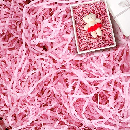 Oopsu 250g(1/2LB) Light Pink Crinkle Cut Paper Shred Filler for Basket Filling Gift Wrapping