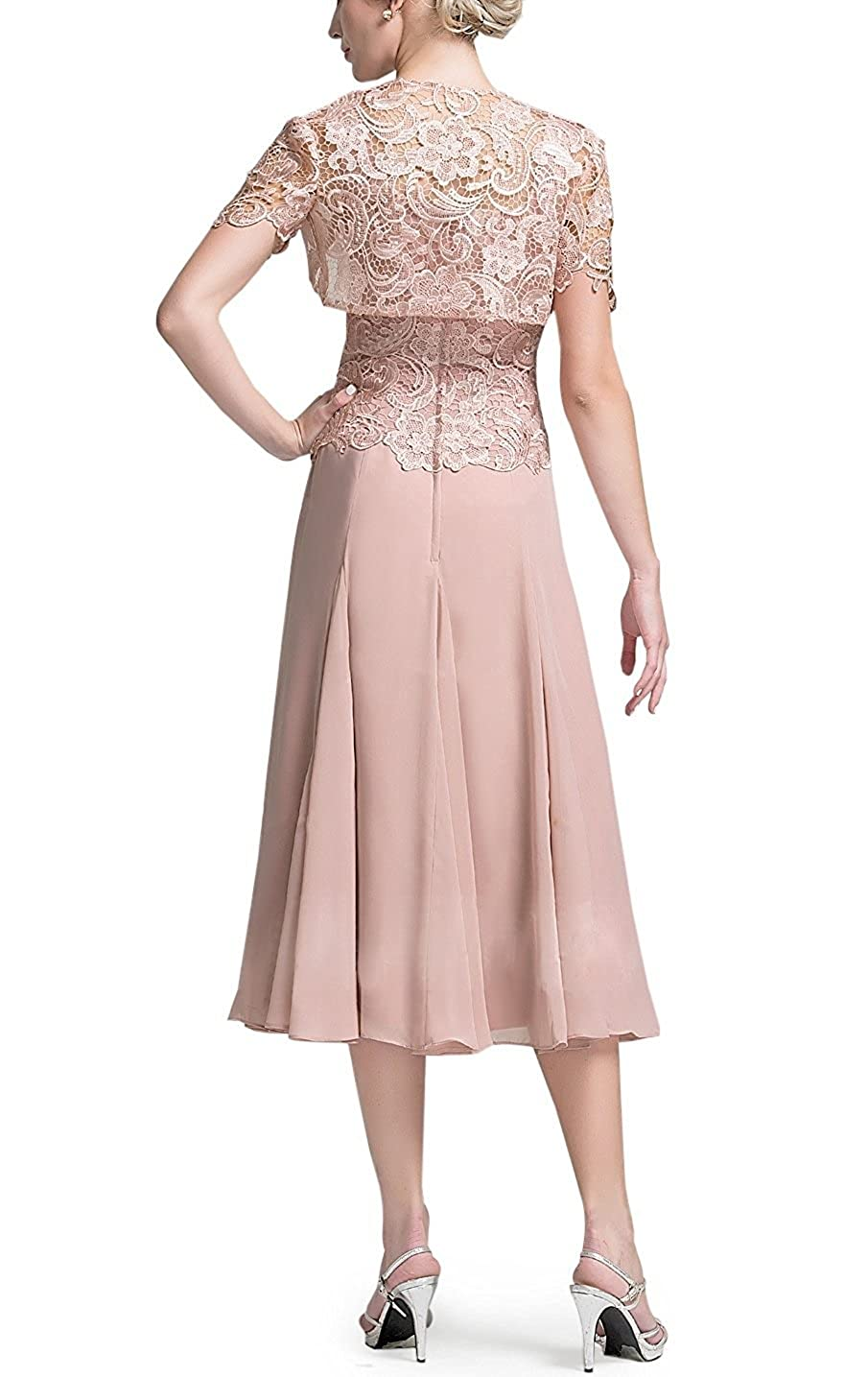 127da1dc6aa DINGZAN Chic Tea Length Bride Mother Dresses with Short Lace Sleeves Jacket  at Amazon Women s Clothing store