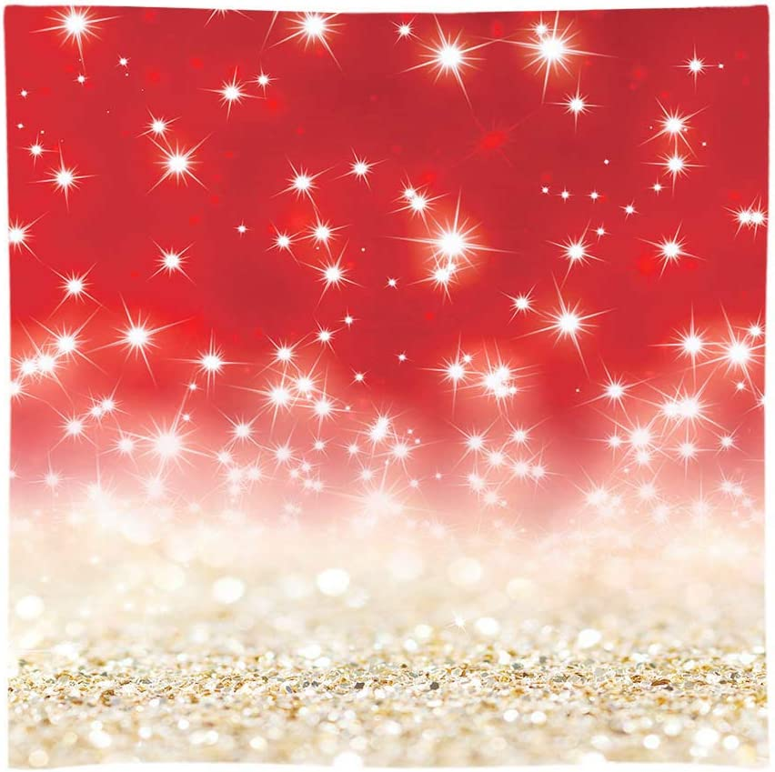 Funnytree 8x8ft Gold Red Glitter Bokeh Photography Backdrop Christmas Shiny Sparkle Background Baby Portrait Party Decorations Photobooth Banner Photo Studio Props