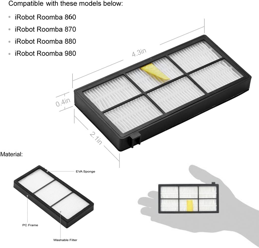 Roomba Hongfa Replacement Roomba 980 Filters,10pcs Hepa Filters Compatible with iRobot Roomba 980 860 880 870 Robotic Vacuum Replacement Parts Accessories 800 900 Series