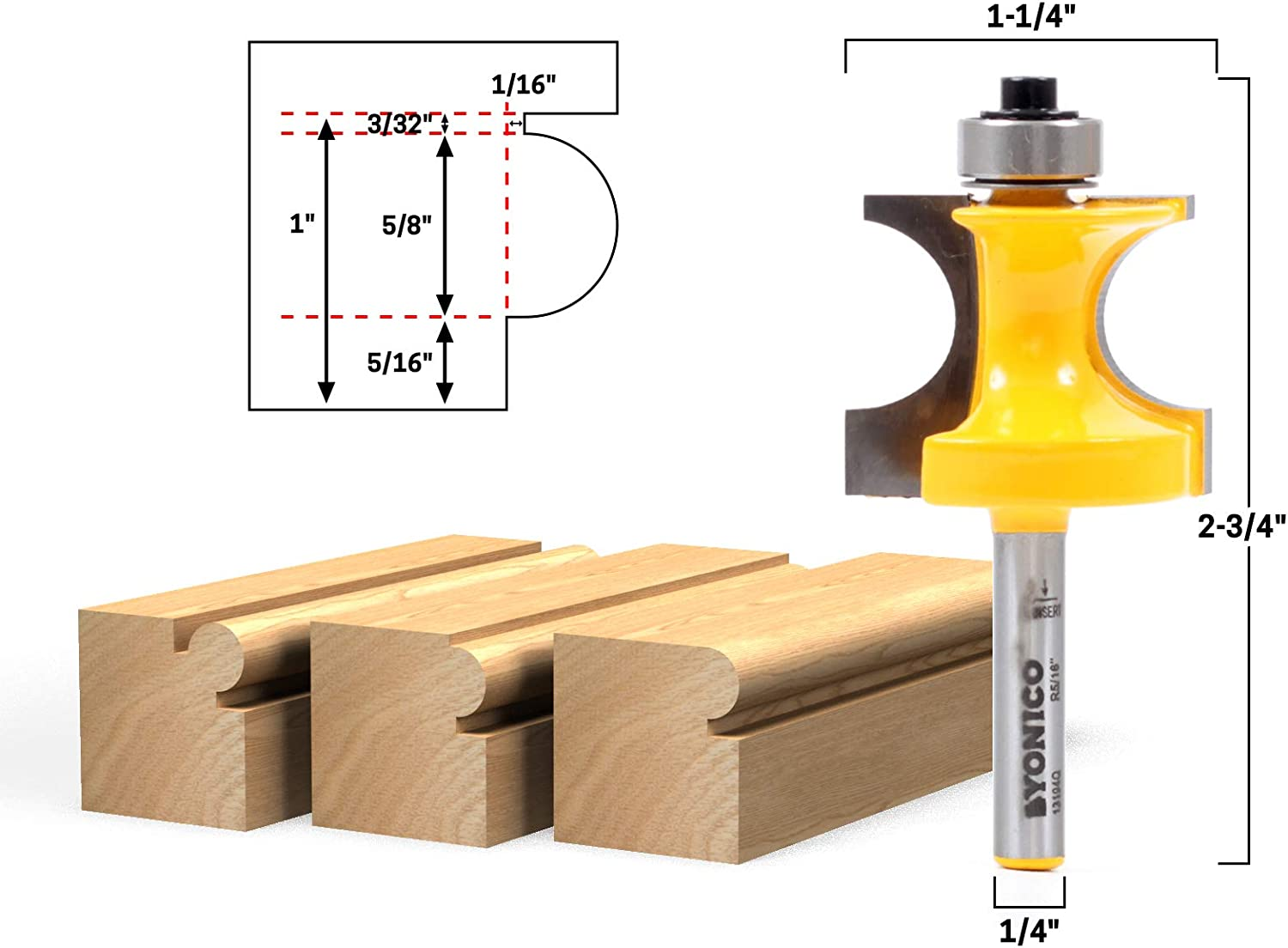 Yonico 13193q 1//2-Inch Bead Bullnose Bead Router Bit 1//4-Inch Shank