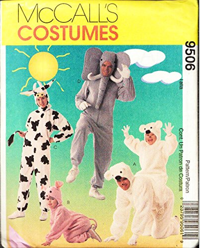 (McCall's Pattern 9506 Child's Cow, Pig, Elephant, Polar Bear Costumes Sewing Pattern Child Size 7-8, Breast)