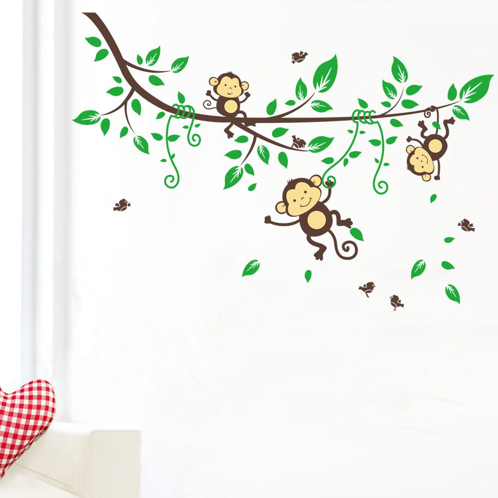 Amazon.com: Cheeky Monkey Hanging On Tree Branches Monkey Wall Decal  Nursery Wall Decal: Baby