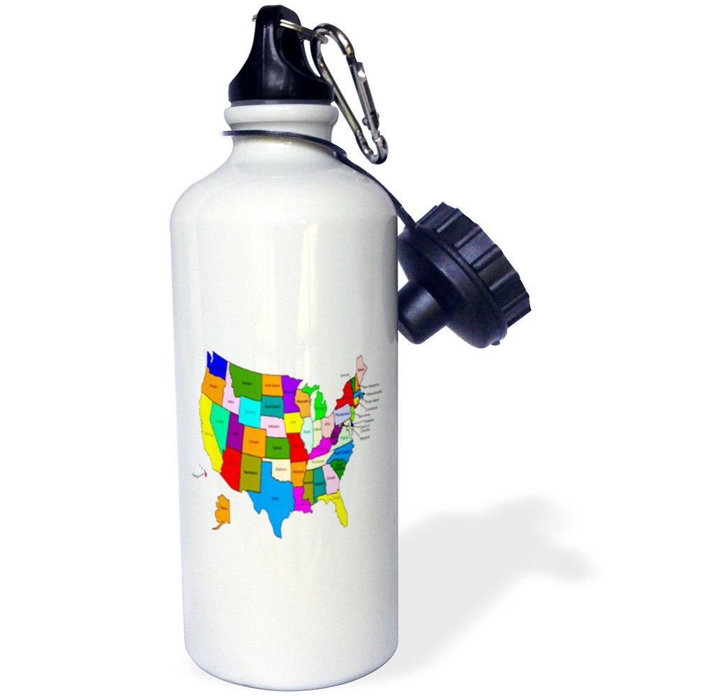 3dRose wb/_80586/_1Colorful Map Of The United States For Kids Sports Water Bottle 21 oz White