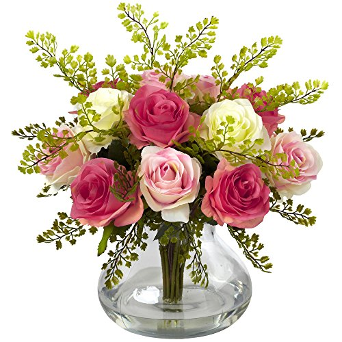 Nearly Natural 1366-AP Rose and Maiden Hair Arrangement with Vase, Assorted Pastels