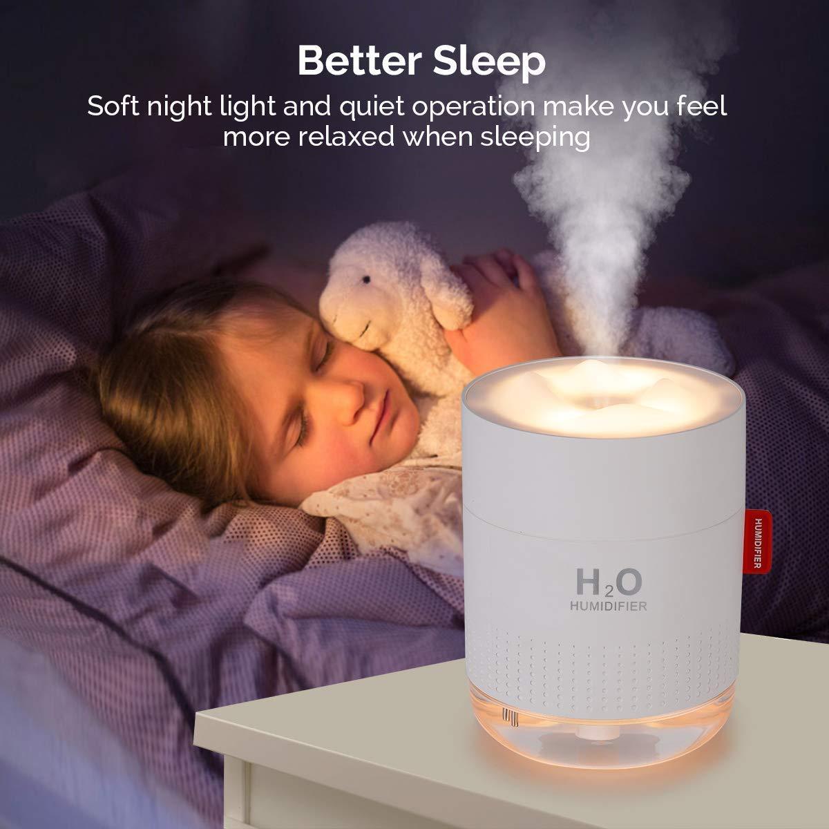 Babyzimmer Wei/ß OOTO Luftbefeuchter auto Usb 500ML Vernebler Luftbefeuchter 10~16 Arbeitsstunden Ultra Leise Schlafmodus Anti-bakterieller Ultraschall Luftbefeuchter Schlafzimmer Wohnzimmer