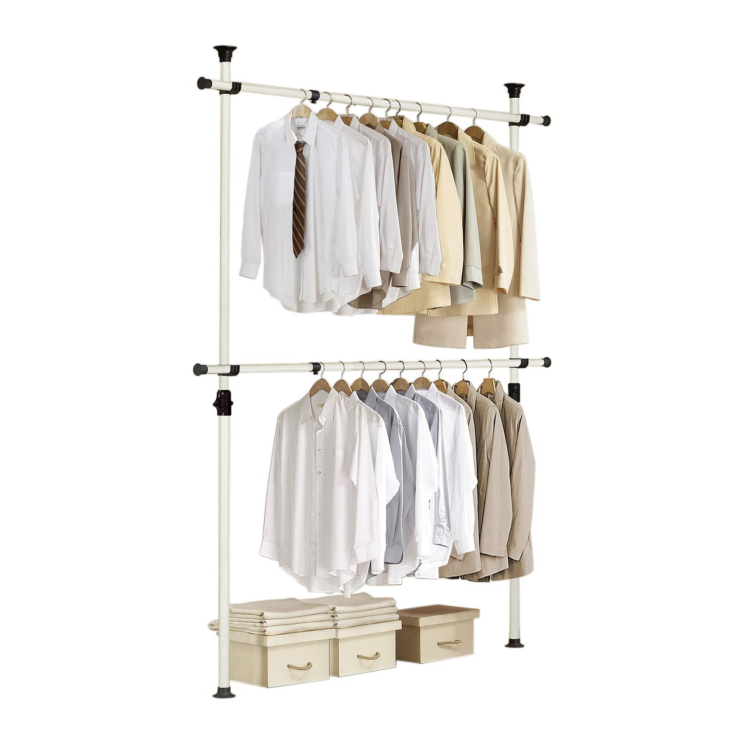 Prince Hanger One Touch Double Adjustable Standing Multifunction Stand Holding 80kg176lb Per Horizontal Bar Heavy Duty 38mm Vertical Pole Clothing Rack