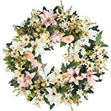 Emlyn Silk Summer Door Wreath 17-Inch Beautiful Silk Front Door Wreath For Spring And Summer Wreath Display, Handcrafted By,Everyday Wreath