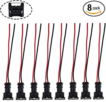 amazon.com: motoall fuel injector connector ev1 obd1 plug wire harness  pigtail wiring loom clip cut & splice 2-wire female - 8pcs: automotive  amazon.com