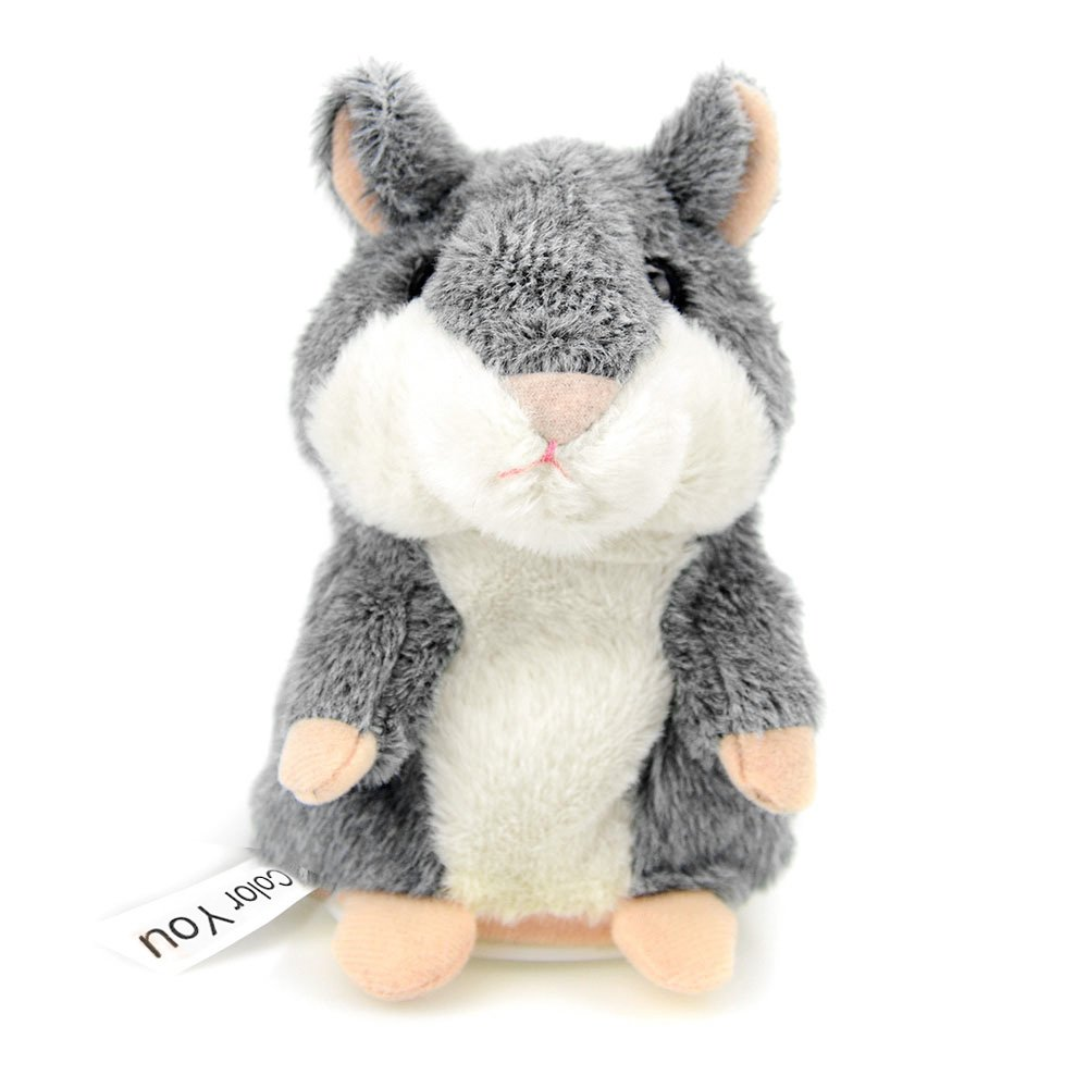 Color You Talking Hamster Repeats What You Say Electronic Pet Talking Plush Toy Buddy Mouse for Kids, 3 x 5.7 inches, Batteries not included, Gray