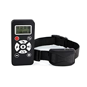 Pet Trainer Collar 800 Yards Rechargeable and Waterproof Dog Shock Collar 2 in 1 Remote-Controlled Dog Training Collar + Anti-Bark Collar for Different sizes of dogs (black)