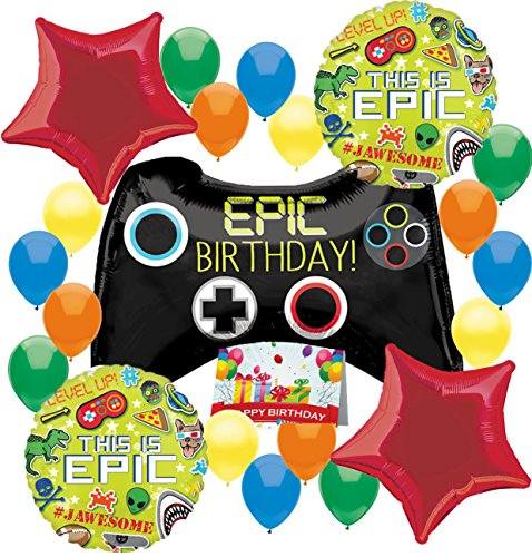 Gamers Game On Epic Party Supplies Controller Birthday Balloon Decorations Bundle (Birthday Party) by Combined Brands