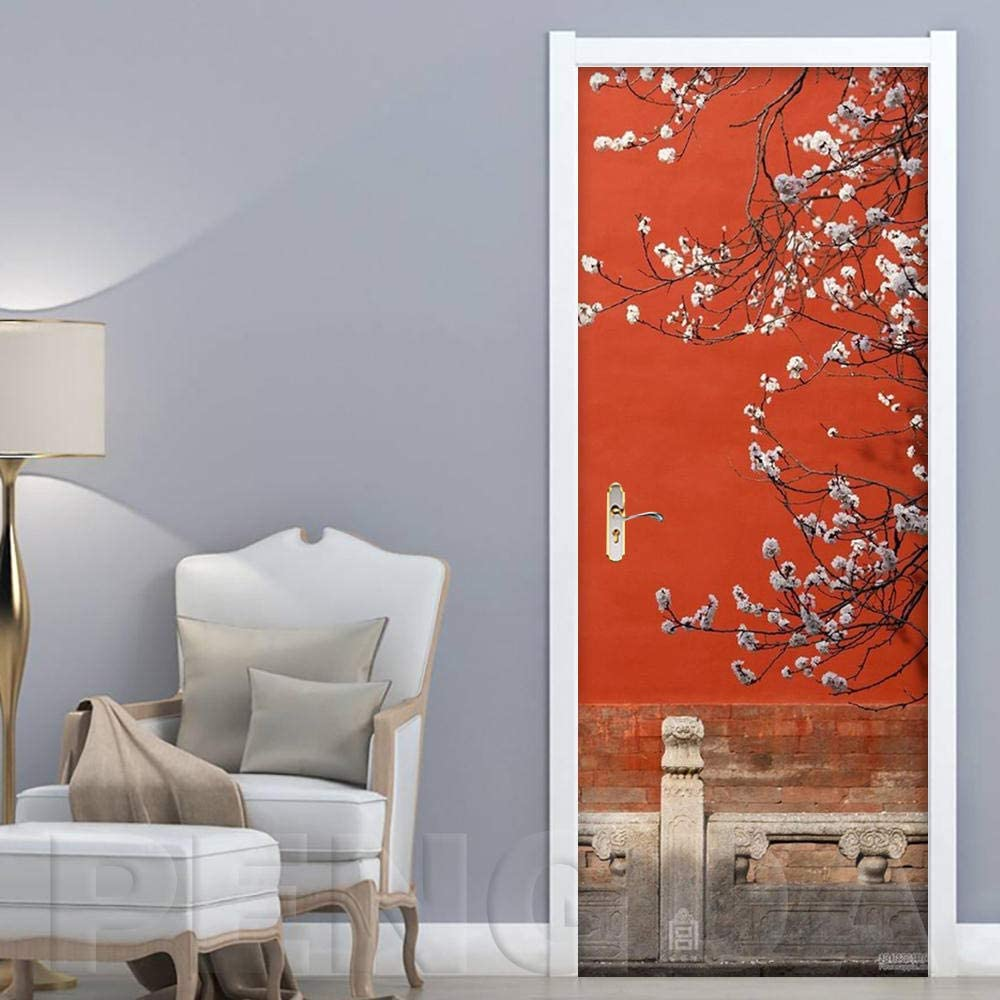 ZOOINB Etiqueta De Vinilo Mural De Puerta 3D Paisaje De Flor De Ciruelo De Arquitectura China Mural Pegatinas De Pared Autoadhesivo Impermeable Removible Arte Papel Pintado Para Niños Sala De Estar Do
