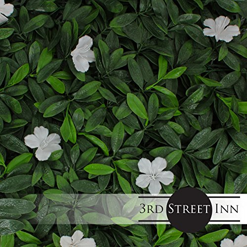 Artificial Hedge - Outdoor Artificial Plant - Great Boxwood and Ivy Substitute - Sound Diffuser Privacy Fence Hedge - Topiary Greenery Panels (12, White Cuckoo Flower) by Milltown Merchants (Image #1)