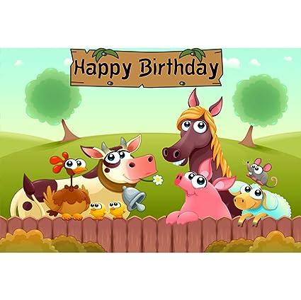 Cassisy 2,2x1,5m Vinilo Cumpleaños Telon de Fondo Feliz cumpleaños Animales de Granja Cerca de Madera Campos de Hierba Fondos para Fotografia Party ...