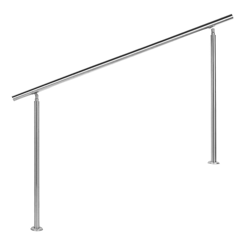Wiltec Treppengeländer Edelstahl 160cm Brüstung Handlauf Geländer Treppe