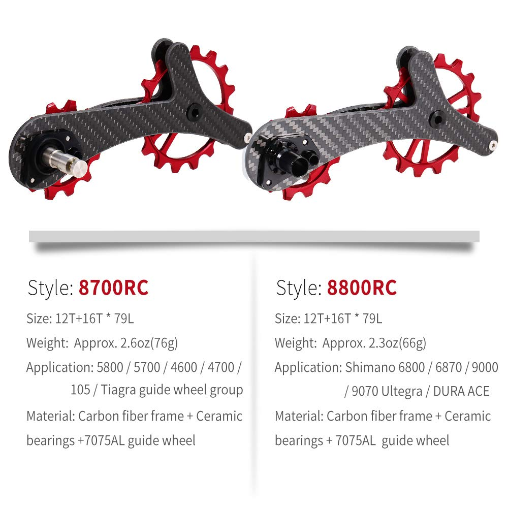 9000//9070 Ultegra//DURA ACE Lixada Lightweight Carbon Fiber Bike Derailleur Pulley Bicycle Rear Jockey Wheel Set 16T+12T Ceramic Bearing Guide Roller Idler for Shimano 6800//6870