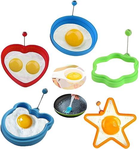 riutilizzabile facile fai da te rosso Feliciay stampo per uova fritte antiaderente 7 cavit/à muffin pancake o uova fritte in silicone Stampo per pancake e uova fritte per fritture