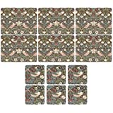 Pimpernel - Wm Morris Strawberry Thief Brown, 6 Placemats + 6 Coasters by Pimpernel-Portmeirion