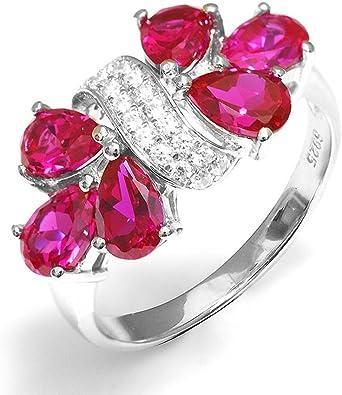 F/&T JEWEL Platinum Plated Elegant Blue Big Stone Ring Fine Jewelry for Women Wedding Rings
