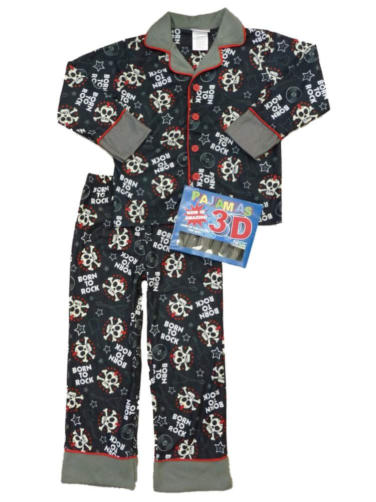 St Eve Boys Black Born To Rock Flannel Pajamas Skull Sleepwear Set 3D Glasses S