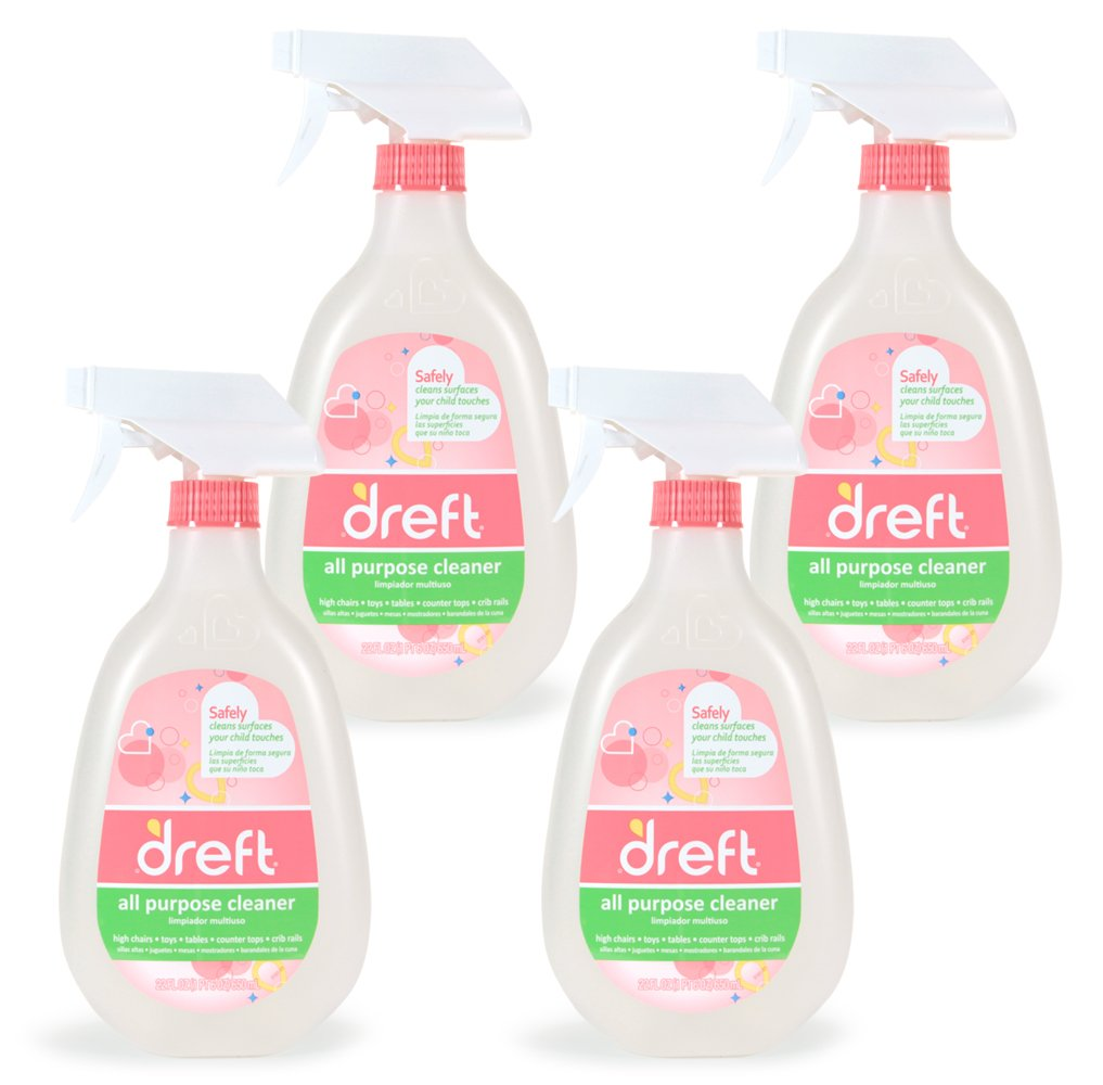 Dreft Multi Surface Everyday Spray Cleaner, All Purpose for Baby Toys, Car Seat, High Chair & More,  22 Fluid Ounce (Pack of 4)