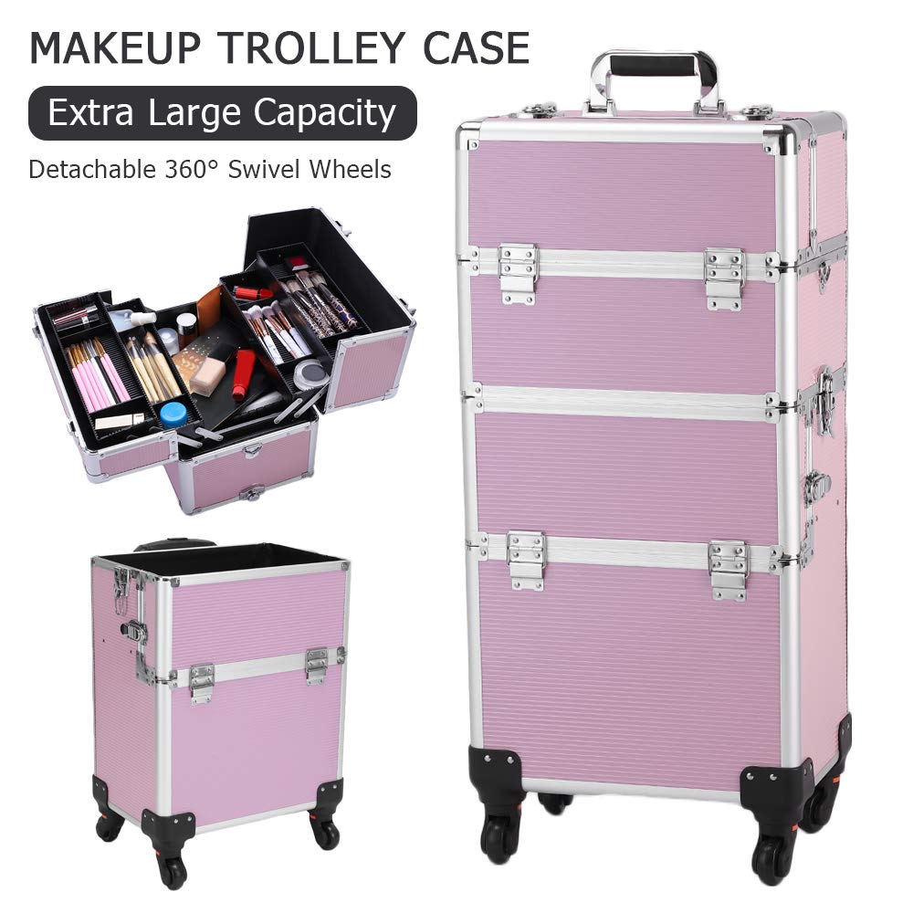 YYAO 3 in 1 Lockable Makeup Case 4 Tier Professional Aluminum Rolling Cosmetic Organizer Trolley Makeup Train Case with Extendable Trays,Pink