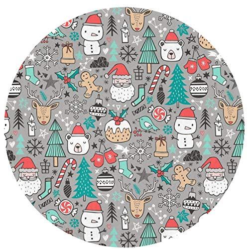 Circle Mat Blanket, Kids Small Splat Mat, Non-Slip Doormat/Floor Rugs, Super Soft Xmas Christmas Bedroom Living Room Decor Carpets, Durable & Machine Washable Round Pad