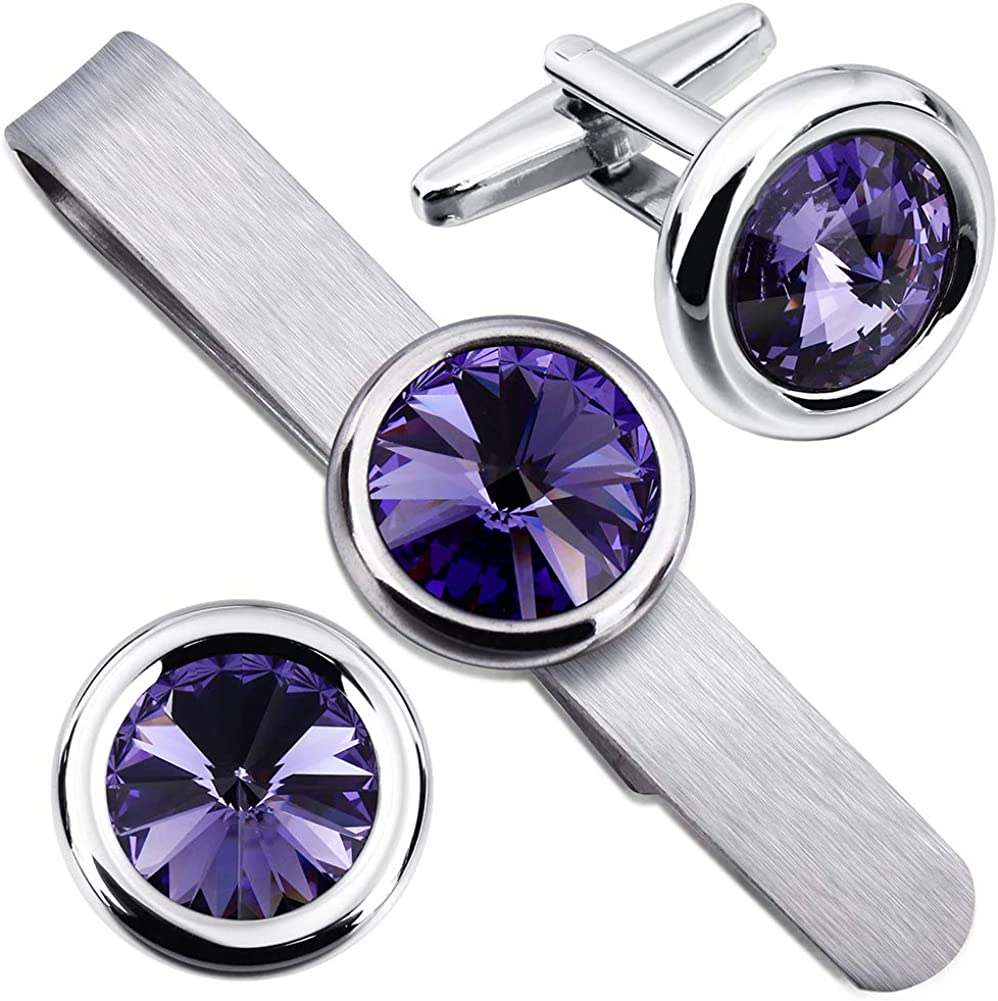 HAWSON Mens Cufflinks and Tie Bar Clip Set with Swarovski Crystal for Formal Business Wedding Shirts -Gift Box