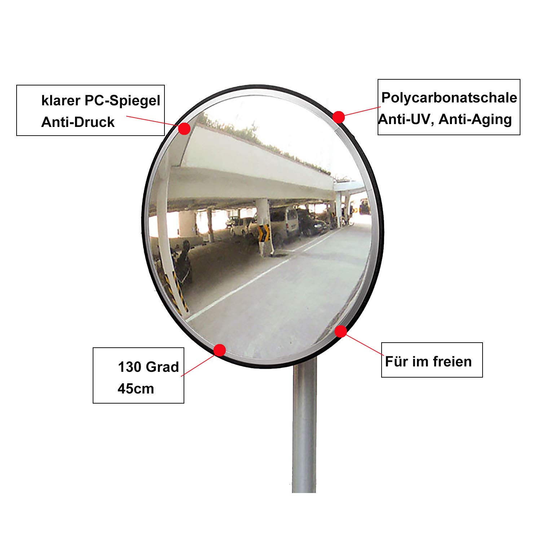 PC Negro 30cm everfarel Seguridad Espejo Tr/áfico /überwachungsspiegel panor/ámico Convexo de Espejo Acrylic Tr/áfico Espejo