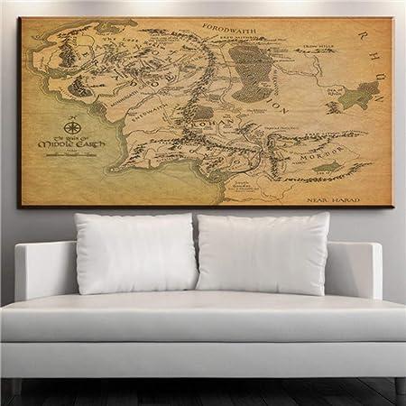 NIMCG Mapa del Mundo Lienzo Pintura Pared Art Deco Imprimir ...
