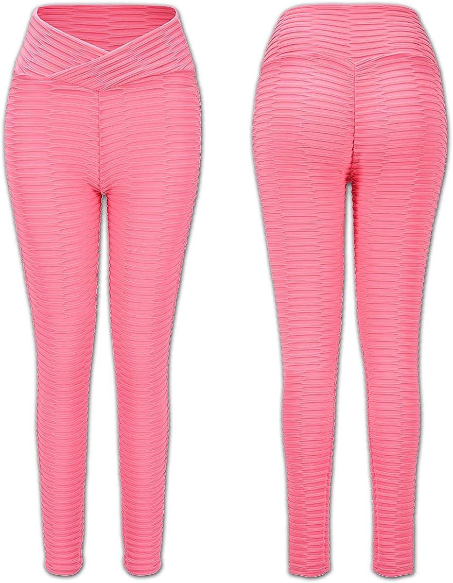 Cordaw Textured Ruched Leggings for Women Scrunch Butt Lift Workout Yoga Pants