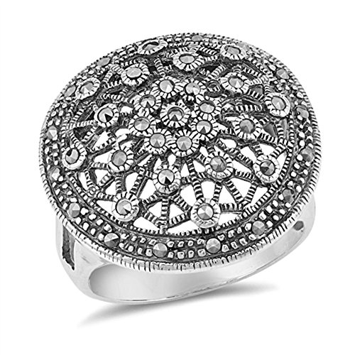 Wide Large Simulated Marcasite Web Filigree Circle Ring Sterling Silver Band Size 6 (RNG16965-6) (Marcasite Band Filigree Ring)