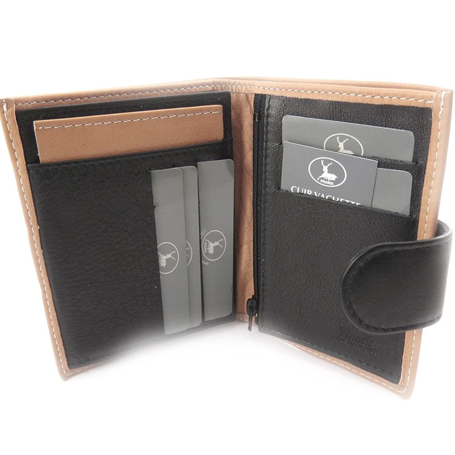 "Wallet leather ""Frandi"" black pepper (european)."