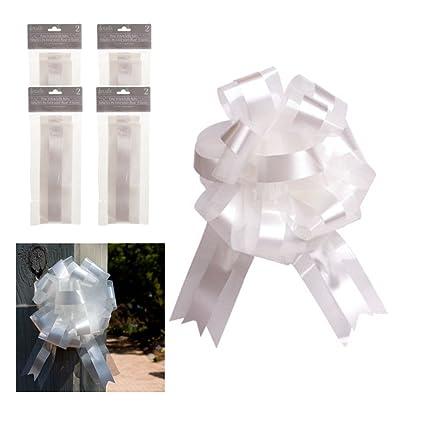 Amazon.com: Lazo blanco y tul lazos, 9 inch, Conjunto de 8 ...