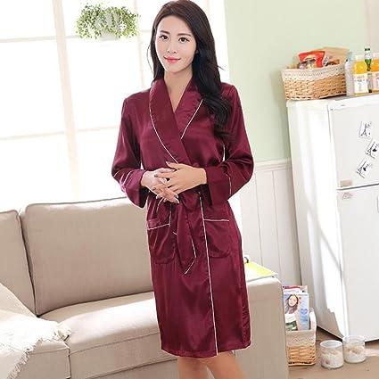 Albornoces Señoras Albornoz Kimono Unisex Larga Seda de Satén de Seda Batas Color Sólido Bata de