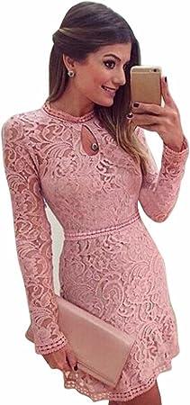 OverDose mujer De Manga Larga O Cuello Hollow Lace Nuevo Club Sexy Pink Slim Party Vestido De Noche