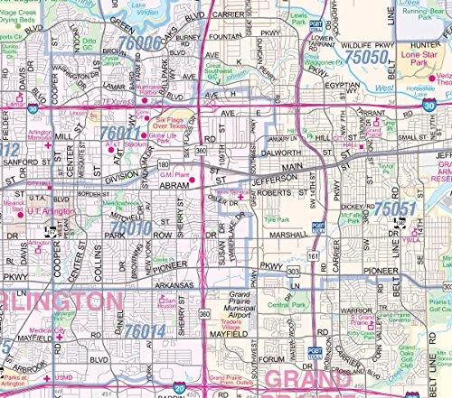 Dallas Fort Worth Metroplex Detailed Region Wall Map W Zip Codes