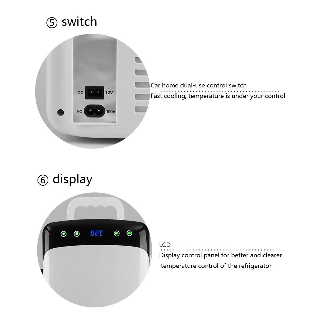 L@LILI Mini refrigerador con CNC de Doble núcleo-enfría y calienta 12 litros de Capacidad Compacto refrigerador-Incluye enchufes para casa Outlet AC & DC ...