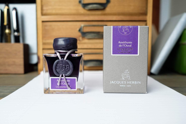J. Herbin 1798 Anniversary Inks - Silver Sheen 50 ml Bottled - Amethyste de L'Oural (Rich Deep Purple Ink) by Herbin (Image #4)