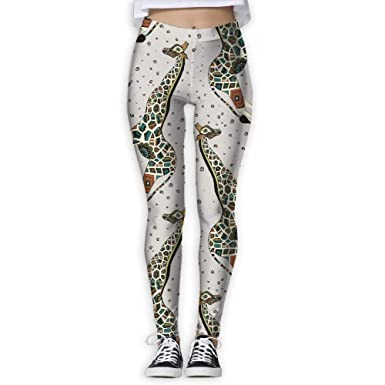 3f14d8d35a107 Amazon.com: QQMIMIG Bohemia Giraffe Pattern Pants Yoga Workout Fitness  Capris Leggings for Women Girls: Clothing