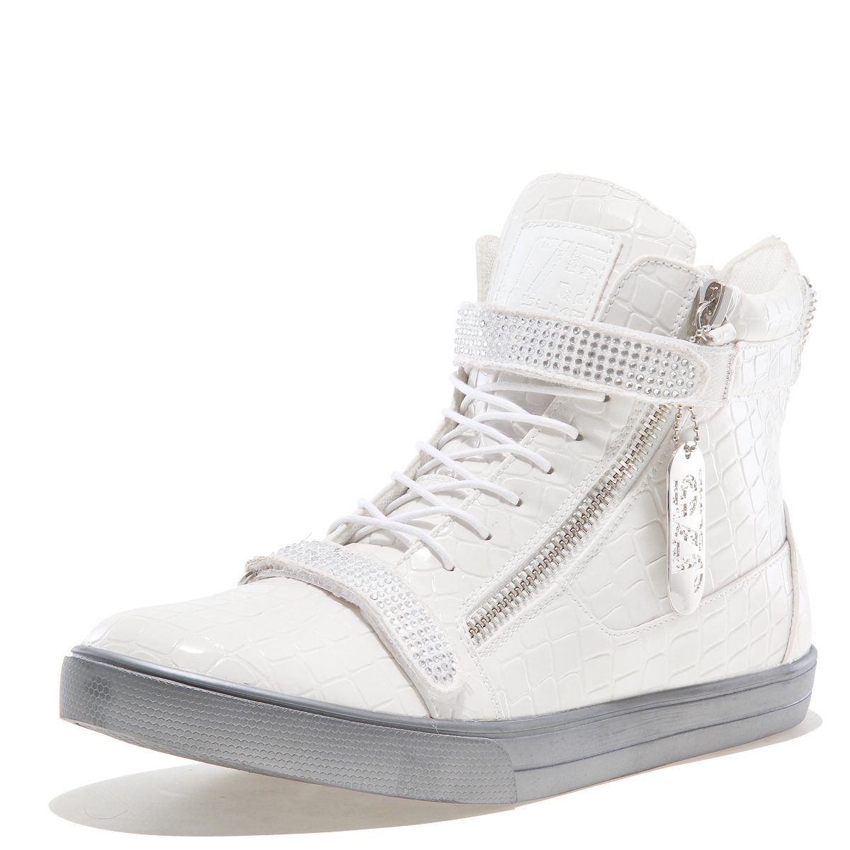 Jump J75 by Men's Zion High-Top Fashion Sneaker White Croco 11 D US