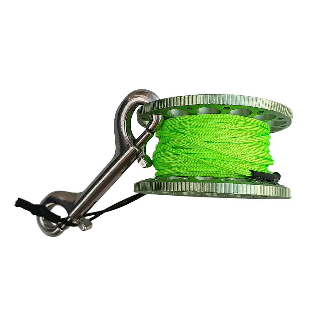 CUTICATE Scuba Diving Finger Spool Reel 15m Line with Double Ended Snap - Green by CUTICATE