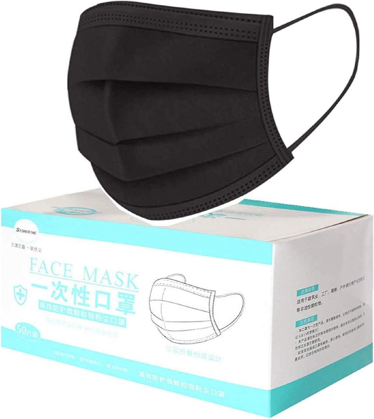 MaNMaNing Protección 3 Capas Transpirables con Elástico para Los Oídos Pack 50 unidades 20200723-MANING-NM50 (50, Negro Adulto)