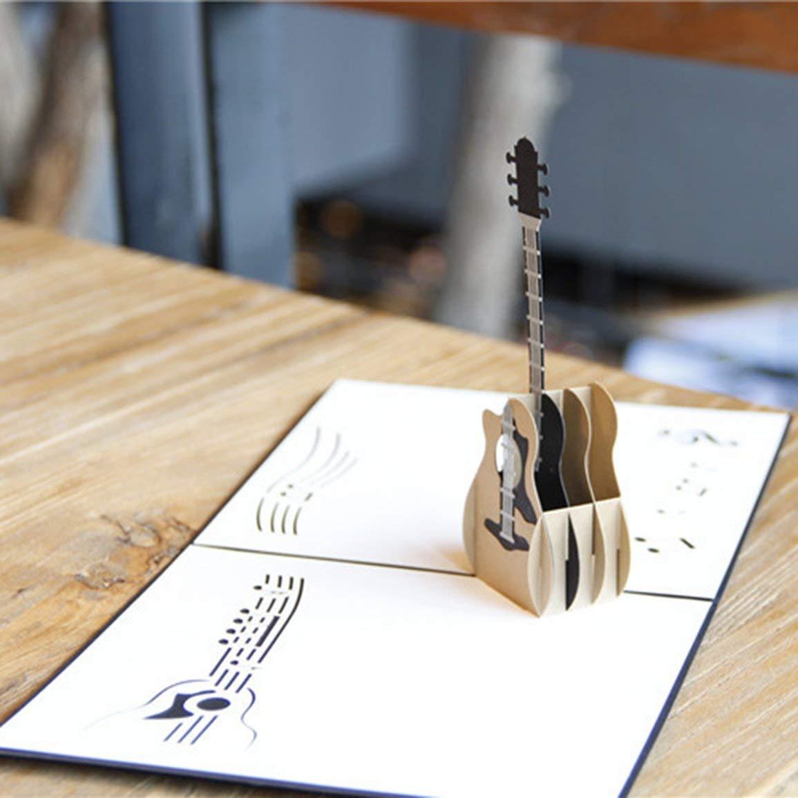 1Pcs 3D Guitar Pop Up Card Biglietto di compleanno Scava fuori Biglietto dauguri Cartolina Invito Matrimonio Love Letters Messaggi JBP-X